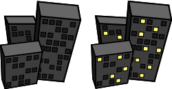 buildings at night by tmjbeary